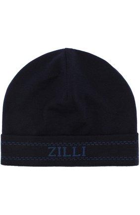 Шапка из смеси кашемира и шелка Zilli темно-синего цвета | Фото №1