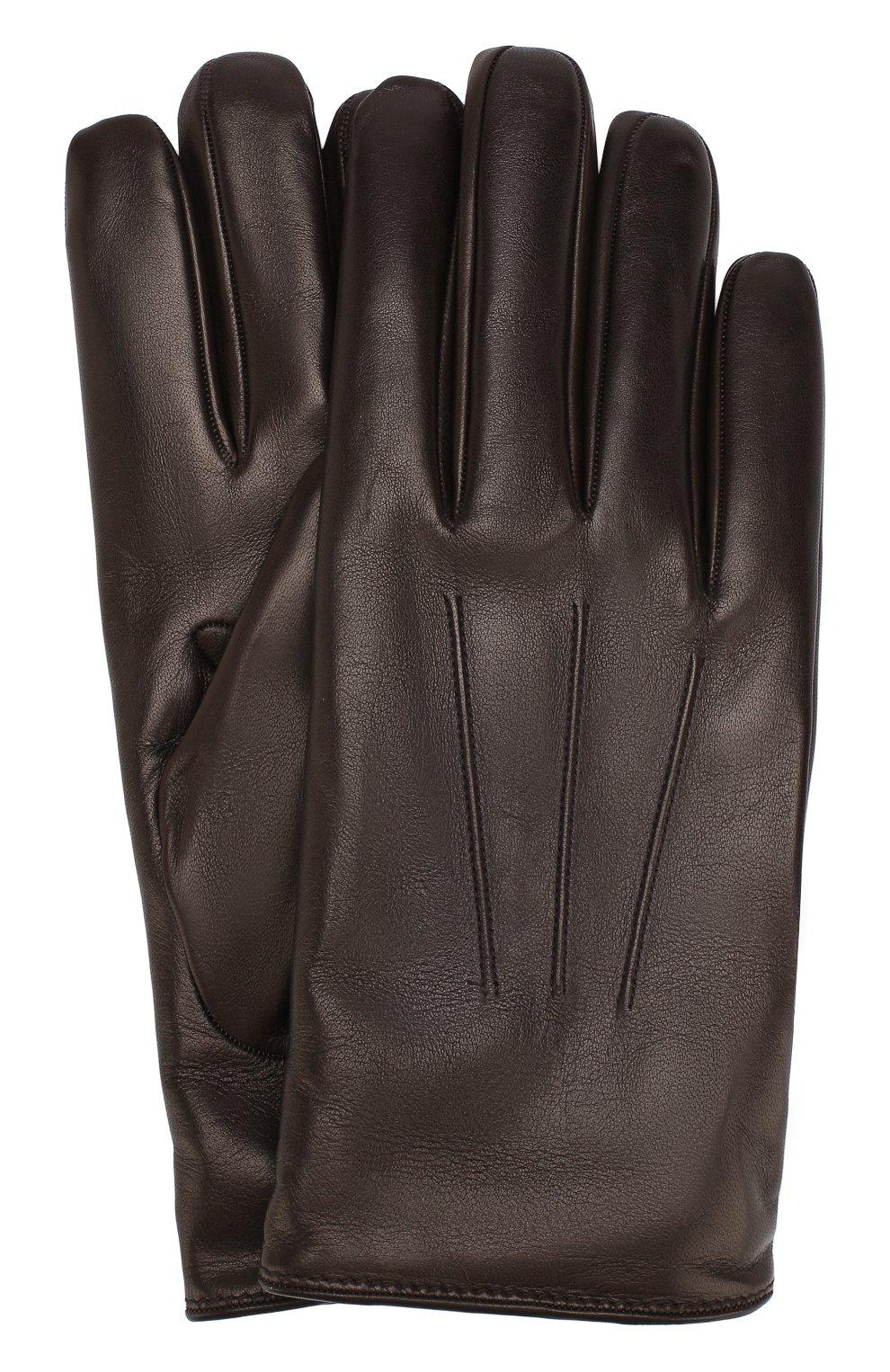 Мужские кожаные перчатки BRIONI темно-коричневого цвета, арт. 05SD0L/07766 | Фото 1