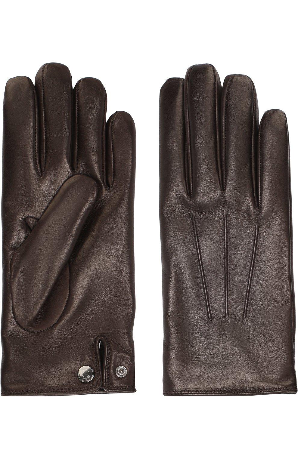 Мужские кожаные перчатки BRIONI темно-коричневого цвета, арт. 05SD0L/07766 | Фото 2