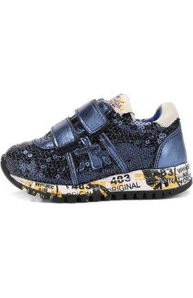 Детские комбинированные кроссовки с застежками велькро и вышивкой пайетками Premiata will be синего цвета | Фото №1