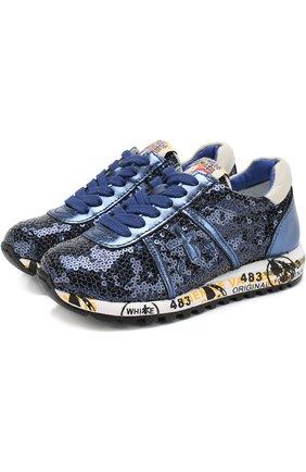 Комбинированные кроссовки на шнуровке с вышивкой пайетками   Фото №1