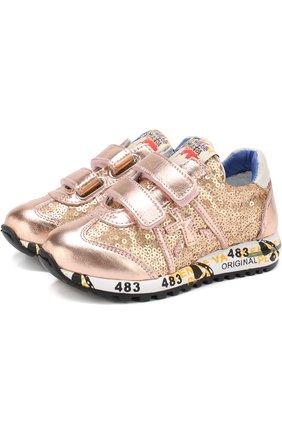 Комбинированные кроссовки с застежками велькро и вышивкой пайетками | Фото №1