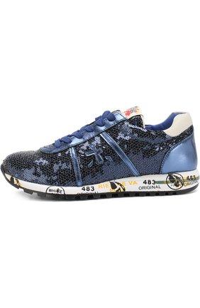 Детские комбинированные кроссовки на шнуровке с вышивкой пайетками Premiata will be синего цвета | Фото №1
