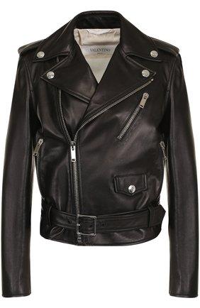 Кожаная куртка с поясом и косой молнией  | Фото №1