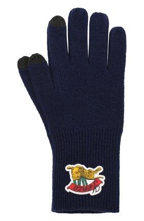 Шерстяные перчатки с нашивкой   Фото №1