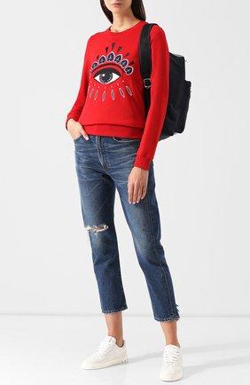 Хлопковый свитшот с контрастной вышивкой Kenzo красный | Фото №1