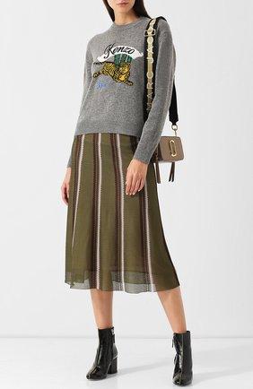 Шерстяной пуловер с круглым вырезом и декоративной нашивкой Kenzo серый | Фото №1