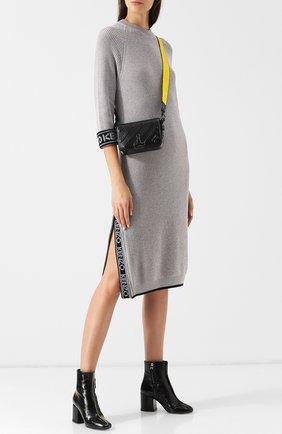 Вязаное платье-миди из смеси хлопка и шерсти Kenzo серое | Фото №1