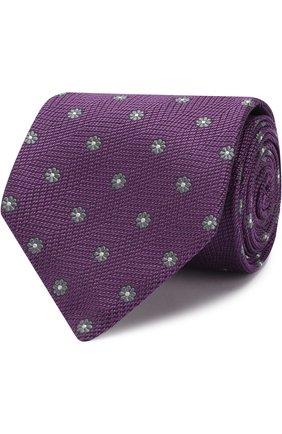 Шелковый галстук с узором Isaia фиолетового цвета | Фото №1