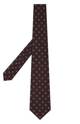 Шелковый галстук с узором Isaia коричневого цвета | Фото №1