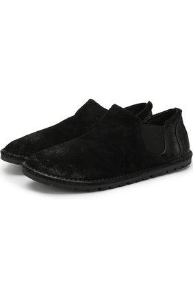 Туфли из нубука с эффектом состаривания Marsell черные | Фото №1