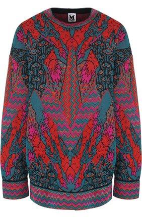 Вязаный пуловер с круглым вырезом и принтом   Фото №1