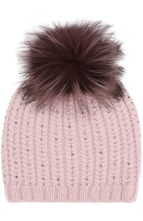 Кашемировая шапка с меховым помпоном и отделкой стразами | Фото №1
