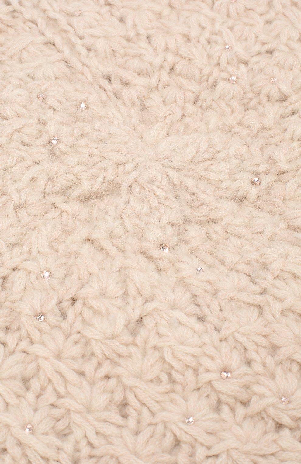 Кашемировый берет с отделкой стразами William Sharp светло-бежевого цвета | Фото №3