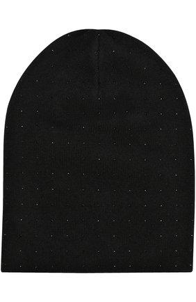 Кашемировая шапка бини с отделкой стразами | Фото №1