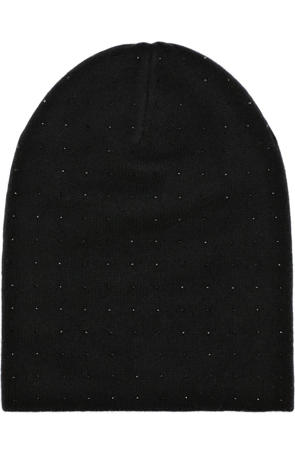 Кашемировая шапка бини с отделкой стразами William Sharp черного цвета | Фото №2