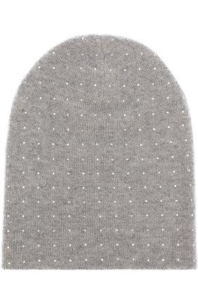 Кашемировая шапка бини с отделкой стразами William Sharp серого цвета | Фото №1
