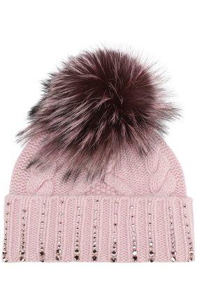 Кашемировая шапка с меховым помпоном и отделкой стразами William Sharp светло-розового цвета | Фото №1