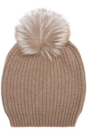 Кашемировая шапка фактурной вязки с меховым помпоном William Sharp бежевого цвета | Фото №1
