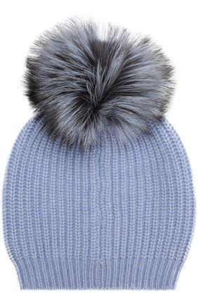 Кашемировая шапка фактурной вязки с меховым помпоном William Sharp голубого цвета | Фото №1