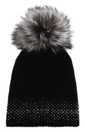 Кашемировая шапка с меховым помпоном и отделкой стразами William Sharp черного цвета | Фото №1