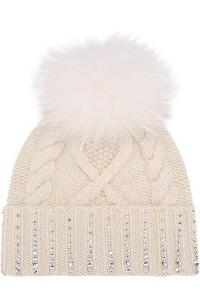 Кашемировая шапка с меховым помпоном и отделкой стразами William Sharp белого цвета | Фото №1