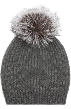 Кашемировая шапка фактурной вязки с меховым помпоном William Sharp темно-серого цвета | Фото №1