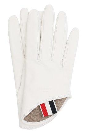 Кожаные перчатки Thom Browne белые | Фото №1