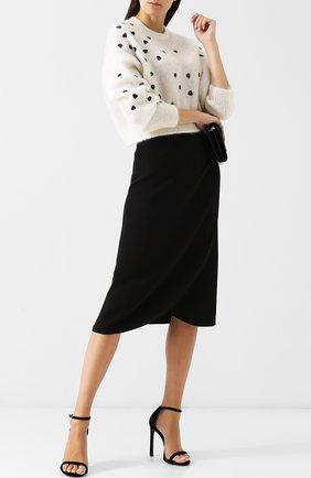 Женская однотонная юбка-миди из шелка VALENTINO черного цвета, арт. QB0RA4711MM | Фото 2