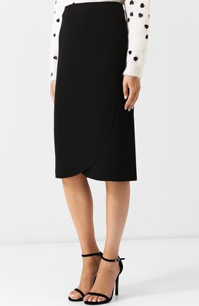 Женская однотонная юбка-миди из шелка VALENTINO черного цвета, арт. QB0RA4711MM | Фото 3