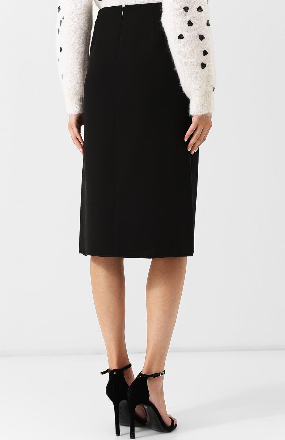 Женская однотонная юбка-миди из шелка VALENTINO черного цвета, арт. QB0RA4711MM | Фото 4