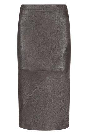 Кожаная юбка-карандаш с эластичным поясом   Фото №1