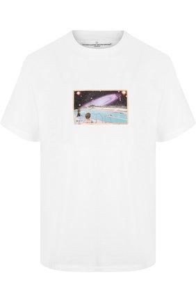 Хлопковая футболка с круглым вырезом и принтом | Фото №1