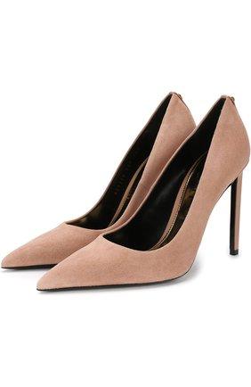 Замшевые туфли на шпильке Tom Ford бежевые   Фото №1