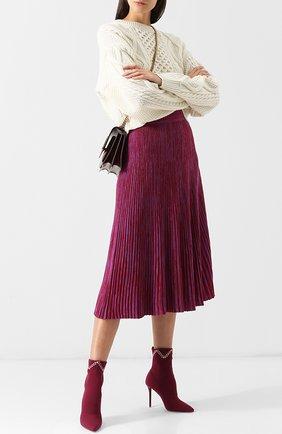 Текстильные ботильоны Mariah на шпильке Malone Souliers бордовые | Фото №1