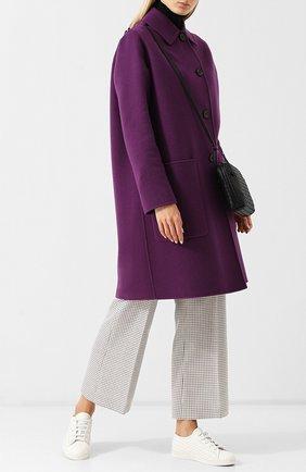 Кожаные кеды с плетением intrecciato Bottega Veneta белые | Фото №1