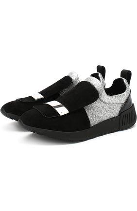 Кожаные кроссовки с глиттером Sergio Rossi черные | Фото №1