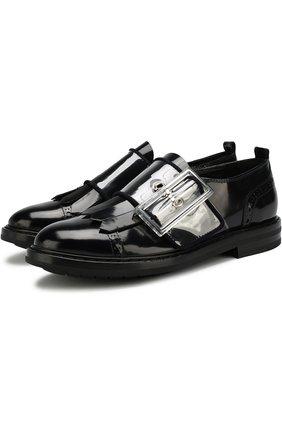 Ботинки из лаковой кожи с бахромой и декоративным ремешком AGL черные | Фото №1