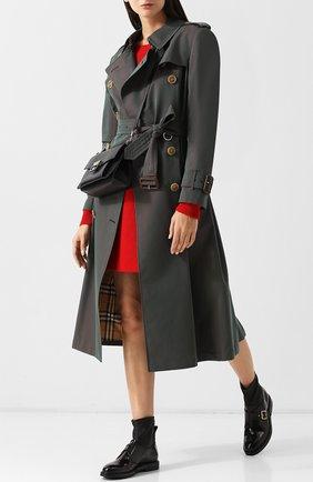 Кожаные монки с текстильной отделкой AGL черные | Фото №1