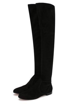 Замшевые ботфорты на низком каблуке | Фото №1