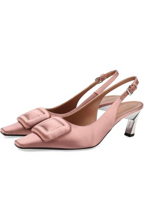 Текстильные туфли с пряжкой на фигурном каблуке Marni розовые | Фото №1