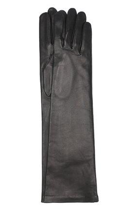 Женские удлиненные кожаные перчатки AGNELLE черного цвета, арт. 0PERA/S | Фото 1