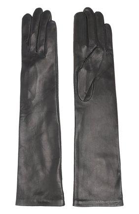 Удлиненные кожаные перчатки Agnelle черные | Фото №1