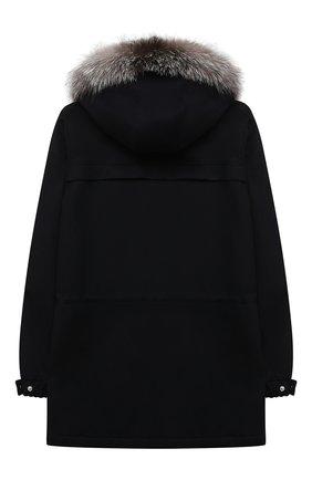 Кашемировая куртка с меховой отделкой капюшона | Фото №2