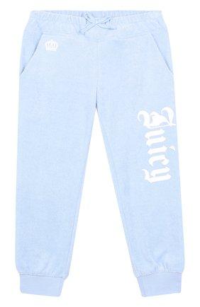 Хлопковые джоггеры с логотипом бренда Juicy Couture голубого цвета | Фото №1