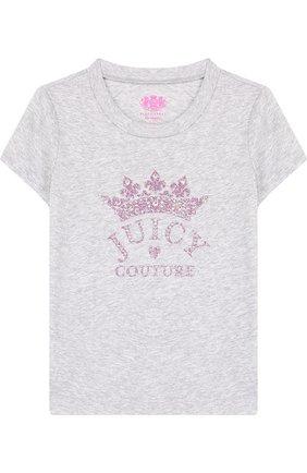 Детская хлопковая футболка с глиттером и стразами Juicy Couture серого цвета | Фото №1