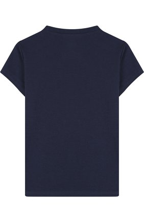Детская хлопковая футболка с принтом Juicy Couture синего цвета | Фото №1