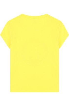 Детская хлопковая футболка с принтом Juicy Couture желтого цвета | Фото №1