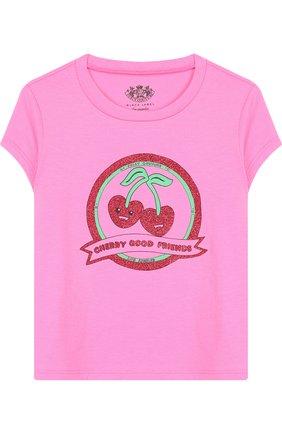 Детская хлопковая футболка с принтом Juicy Couture розового цвета | Фото №1