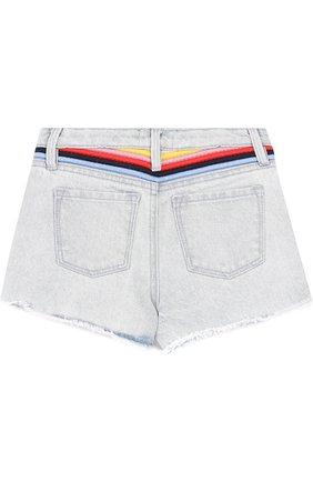 Детские джинсовые шорты с контрастной отделкой Juicy Couture голубого цвета | Фото №1